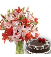 Lilies With Cake