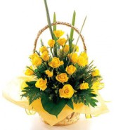 Yellow Roses in a Basket