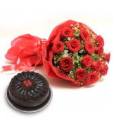 Red Roses W/h Cake