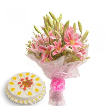 Pink Lilies and Cake